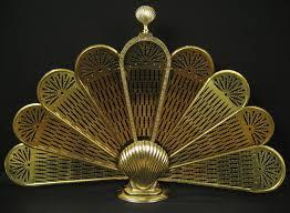 vtg antique brass shell art deco folding peacock fan style