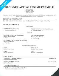 Resume Acting Template by Child Musical Theater Resume Sle Acting Template Actor Format 6