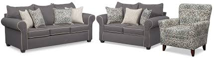 sofa loveseat and chair set carla sofa loveseat and accent chair set gray american