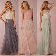 2018 vintage two pieces crop top bridesmaid dresses tulle ruched