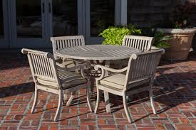 Aluminum Patio Dining Set Teak Wood Finish Aluminum Patio Dining Set