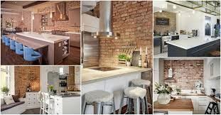 Fake Exposed Brick Wall Kitchen Wallpaper High Definition Awesome Small Apartment