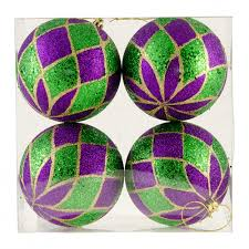 100mm metallic ornaments set of 4 mardi gras harlequin