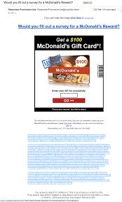mcdonalds e gift card the daily scam april 4 2018