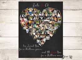 monogrammed anniversary gifts personalized anniversary gift heart photo collage