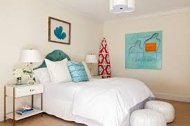Beach Cottage Bedroom by White And Blue Cottage Bedroom With Framed Turquoise Blue Sea Fan