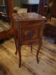 marble top bedside table french walnut marble top bedside cabinet 201281 sellingantiques