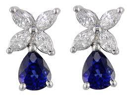 diamonds earrings diamond earrings with sapphire drops bijoux extraordinaire