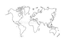 outline of world map outline of world map on white background stock vector