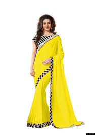 women chiffon yellow colour lace broder work designer saree by kmozi