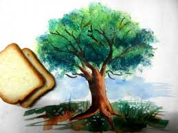 easy bread slice trick to paint tree leaves that actually works