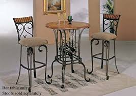 Dining Room Table With Wine Rack by Amazon Com Bar Table With Wine Rack Bronze U0026 Oak Finish Kitchen