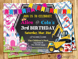 princess and construction joint birthday party invitation