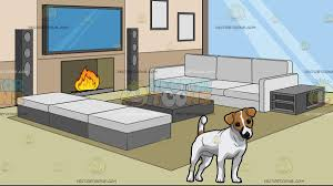 Livingroom Cartoon An Adorable Jack Russell Terrier Pup With A Modern Comfy Living