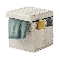 Folding Storage Ottoman Sit Store Folding Storage Ottoman In Gold Bed Bath Beyond