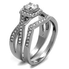 Stainless Steel Wedding Rings by Halo Design Stainless Steel Wedding Ring Set