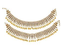 gold colour chain necklace images Adoreva white coloured pair of gold anklets payal diva mumbai jpg