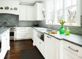 Backsplash With White Kitchen Cabinets Grey Backsplash With White Kitchen Cabinet And