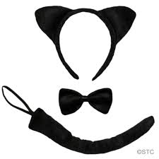 black cat ears tail u0026 bow tie costume set halloween cat party kit