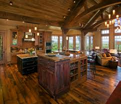 rustic open floor plans living room traditional with counter
