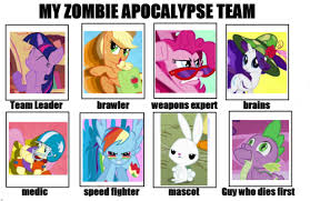 Funny Pony Memes - mlp zombie apocalypse team save spike as a dog though he s badass