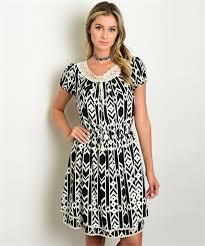 tribal dress tribal print black and ivory dress alphonse unlimited