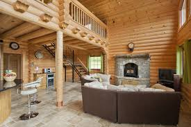 chalet honka honka log house rustic living room dublin by
