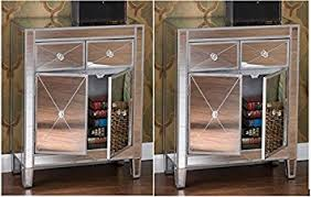 amazon com set of 2 mirrored hollywood glam dresser bedroom chest
