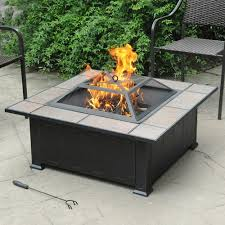 Firepit Top Axxonn Tuscan Ceramic Tile Top Pit Black Antique Bronze