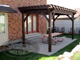 Free Pergola Plans And Designs by Free Standing Pergola With Rich Cordoba Stain And Crescent Step