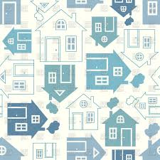 abstract house silhouette and outline seamless background vector