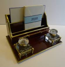 Writing Desk Accessories by Antique French Mahogany And Brass Desk Set Inkstand Stationery