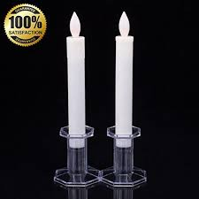 set of 2 9 led flickering flameless taper candles ivory
