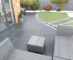 Slate Patio Designs Carbon Black Limestone Flagstones Modern Patio Landscaping