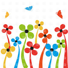colorful simplistic cartoon flowers and butterflies vector clipart