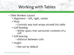 Table Cell Spacing Tutorial 6 Creating Tables And Css Layouts Objectives Session 6 1
