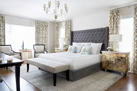 we love this colourful yet sophisticated calgary home western living in the master bedroom silver finished night tables pair up with a cozy velvet headboard and linen accents