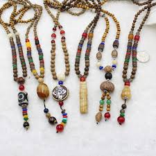 bead necklace wood images Nepal buddhist mala wood beads tassel necklaces natural stone jpg