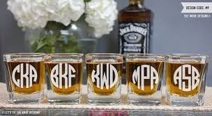 wedding gift groomsmen monogram glass one custom engraved square glass