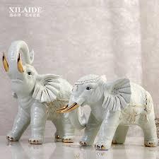 green ceramic lucky elephant statue home decor crafts room wedding