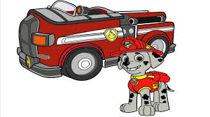 coloring paw patrol marshall fire truck coloring