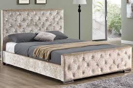 Velvet Bed Frame Beaumont Diamante Gold Crushed Fabric Upholstered King Bed