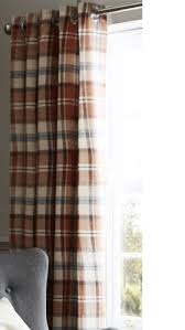 catherine lansfield heritage kelso check eyelet curtains spice 66