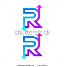 letter r logo design vector arrow stock vector 506195800