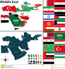 Map Middle East by Middle East Map With Borders And Flags Stock Illustration Image