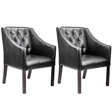 Corliving Antonio Black Bonded Leather Accent Club Chair Set Of 2