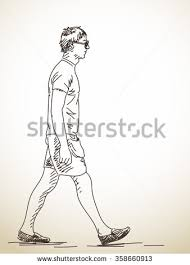 sketch walking woman hand drawn illustration stock vector