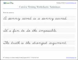 cursive sentences worksheet screenshot from k5 learning http