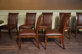 Upholstered Chair by Solid Walnut Leather Upholstered Dining Chairs With Brass Nails