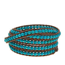 turquoise bracelet images Chan luu turquoise brown leather multi wrap bracelet 8476926 hsn jpg